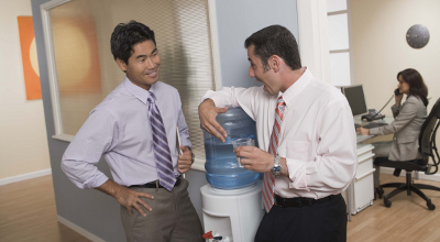 Men at water cooler