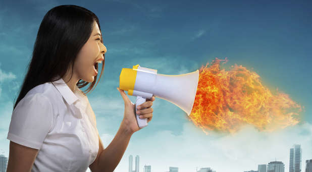 Fire and megaphone