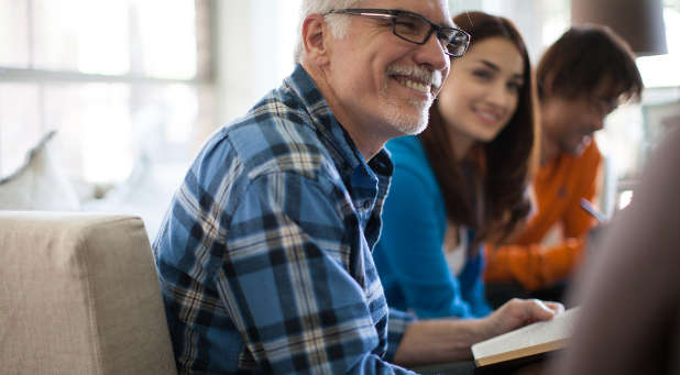 A mixed Bible study of senior and younger adults can help attract younger families to your church.