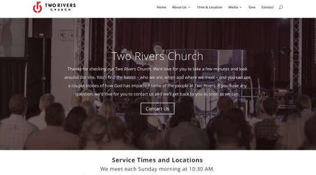 One thing for all church websites: Make sure your service times are prominently displayed.